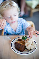 Fig cake served with coffee ice cream at Cafe Atlantic on Ocracoke. (sampled by Finley Roessler)