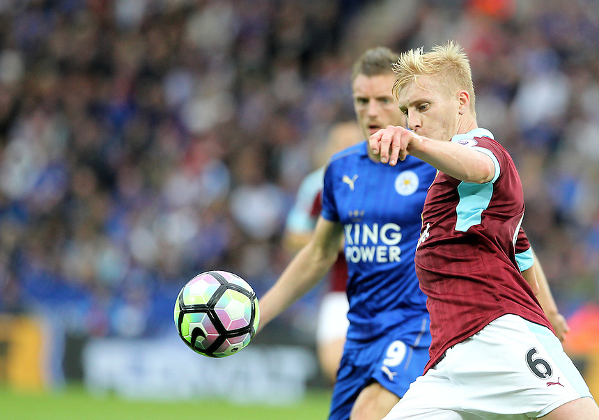 Burnley's Ben Mee in action during todays match  with Leicester City's Jamie Vardy<br /> <br /> Photographer Rachel Holborn/CameraSport<br /> <br /> The Premier League - Leicester City v Burnley - Saturday 17th September 2016 - King Power Stadium - Leicester <br /> <br /> World Copyright &copy; 2016 CameraSport. All rights reserved. 43 Linden Ave. Countesthorpe. Leicester. England. LE8 5PG - Tel: +44 (0) 116 277 4147 - admin@camerasport.com - www.camerasport.com