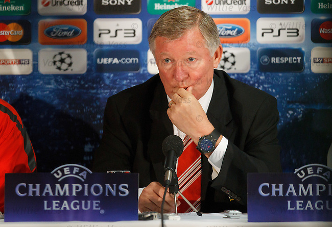 Sir Alex Ferguson at Old Trafford for the UEFA Champions League press conference