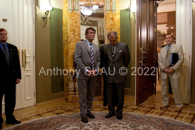 Kiev, Ukraine.July 19, 2005 ..Ukraine President Victor Yuschenko waits for the arrival of Javier Solana, European Union High Representative for Common Foreign and Security Policy at his office in Kiev. In this images he stands near his chief of protocol Georgiy Chernyavskiy.....