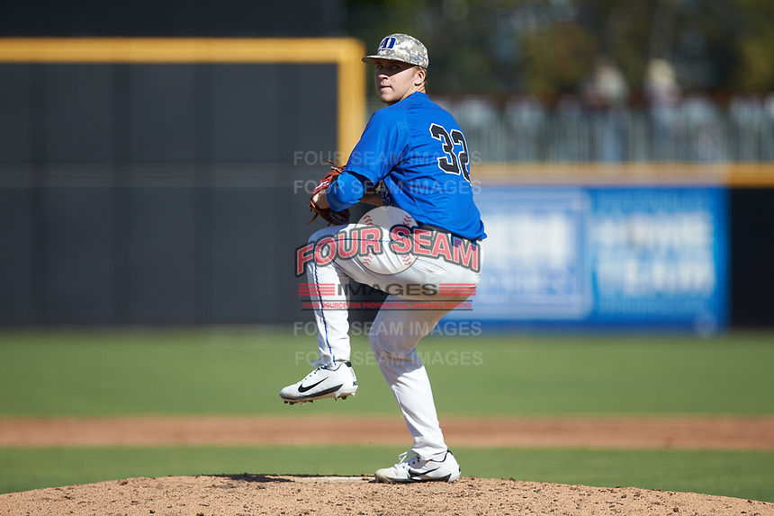 Duke Blue Devils relief pitcher Jack Carey (32) in action against the Coastal Carolina Chanticleers at Segra Stadium on November 2, 2019 in Fayetteville, North Carolina. (Brian Westerholt/Four Seam Images)