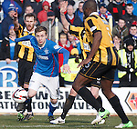 Robbie Crawford tricks his way into the box for Rangers