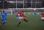 First-half action as Gala Fairydean Rovers (in red) host Gretna 2008 in a Scottish Lowland League match at Netherdale, Galashiels. The home club were established in 2013 through a merger of Gala Fairydean, one of Scotland's most successful non-League clubs, and local amateur club Gala Rovers. The visitors were a 'phoenix' club set up in the wake of the collapse of the original club, which had competed for a short time in the 2000s before going bankrupt. The home aside won this encounter 4-1 watched by a crowd of 120 at a stadium which features one of the country's most notable stands, a listed building constructed in 1964 but at the time of this fixture closed to spectators on safety grounds.