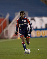 New England Revolution midfielder Sainey Nyassi (31) scored a goal in his first game as a Revolution player. The New England Revolution defeated the Houston Dynamo 3-0 in their Major League Soccer home opener at Gillette Stadium in Foxborough, Massachusetts on March 29, 2008.