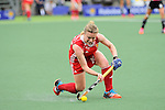 The Hague, Netherlands, June 10: Hollie Webb #20 of England passes the ball during the field hockey group match (Women - Group B) between Germany and England on June 10, 2014 during the World Cup 2014 at Kyocera Stadium in The Hague, Netherlands. Final score 1-3 (0-0) (Photo by Dirk Markgraf / www.265-images.com) *** Local caption ***