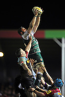 Ed Slater of Leicester Tigers wins the ball at a lineout. Aviva Premiership match, between Harlequins and Leicester Tigers on February 19, 2016 at the Twickenham Stoop in London, England. Photo by: Patrick Khachfe / JMP