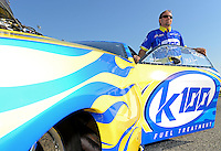 Sept. 29, 2012; Madison, IL, USA: NHRA pro mod driver Mike Janis poses for a photo with his car during qualifying for the Midwest Nationals at Gateway Motorsports Park. Mandatory Credit: Mark J. Rebilas-