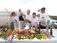 REPRO FREE; 24-9-2013; Dingle chefs, Jill Burton, Louise Brosnan, Mark Murphy, Martin Bealin, Trevis L Gleason and 'the head on a plate'  Jean Marie Vaireaux pictured at Slea Head on the Dingle Penninsula on Tuesday for the launch of the annual Dingle Food Festival and Blas na h-Eireann Irish Food Awards which will take place from October 4th-6th. The annual festival includes a taste trail with over 60 outlets, a Tuna cook-off, cookery demonstrations, open air markets and the presentation of the Irish Food Awards. More information on www.dinglefood.com<br /> Picture by Don MacMonagle<br /> <br /> <br /> PR PHOTO FROM DINGLE FOOD FESTIVAL