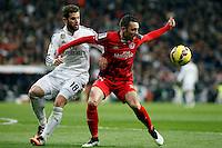 Nacho of Real Madrid and Iago Aspas of Sevilla during La Liga match between Real Madrid and Sevilla at Santiago Bernabeu Stadium in Madrid, Spain. February 04, 2015. (ALTERPHOTOS/Caro Marin) /NORTEphoto.com
