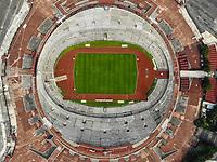 aerial view of the University Olympic Stadium, home of the soccer team Los Pumas de la UNAM. National Autonomous University of Mexico. CU. Mexico City.  high angle view (Photo: Luis Gutierrez / NortePhoto.com)<br /> <br /> vista aerea del Estadio Ol&iacute;mpico Universitario, casa del equipo de futbol Los Pumas de la UNAM. Universidad Nacional Aut&oacute;noma de M&eacute;xico. CU. Ciudad de Mexico. (Foto: Luis Gutierrez / NortePhoto.com)