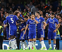 Eden Hazard of Chelsea is mobbed by team-mates after opening the scoring during the Premier League match between Chelsea and Manchester City at Stamford Bridge on April 5th 2017 in London, England. <br /> Foto PHC Images / Panoramic / Insidefoto <br /> ITALY ONLY