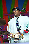 Lumar LeBlanc of the Soul Rebels performs during the New Orleans Jazz & Heritage Festival in New Orleans, LA.