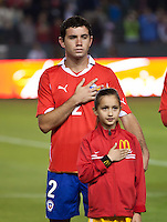CARSON, CA – JANUARY 22: Chile defender Eugenio Mena (2) before the international friendly match between USA and Chile at the Home Depot Center, January 22, 2011 in Carson, California. Final score USA 1, Chile 1.
