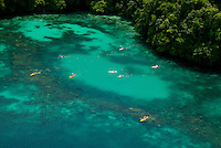 A favorite Kayaking spot, Aerial of the Rock islands, Palau Micronesia