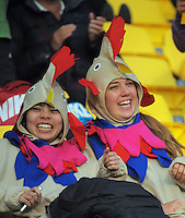 Fans in the grandstand on day one of the 2016 HSBC Wellington Sevens at Westpac Stadium, Wellington, New Zealand on Saturday, 30 January 2016. Photo: Dave Lintott / lintottphoto.co.nz