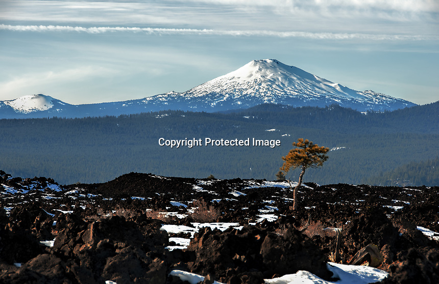 A winter view of the Lava Lands area apart of the Deschutes National Forest and Newberry National Volcanic Monument, Oregon.