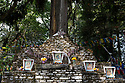 India - Sikkim - A detail of the coronation throne of Norbugang located nearby Yuksom. It was erected following the crowning of the first Chogyal of Sikkim in 1642.