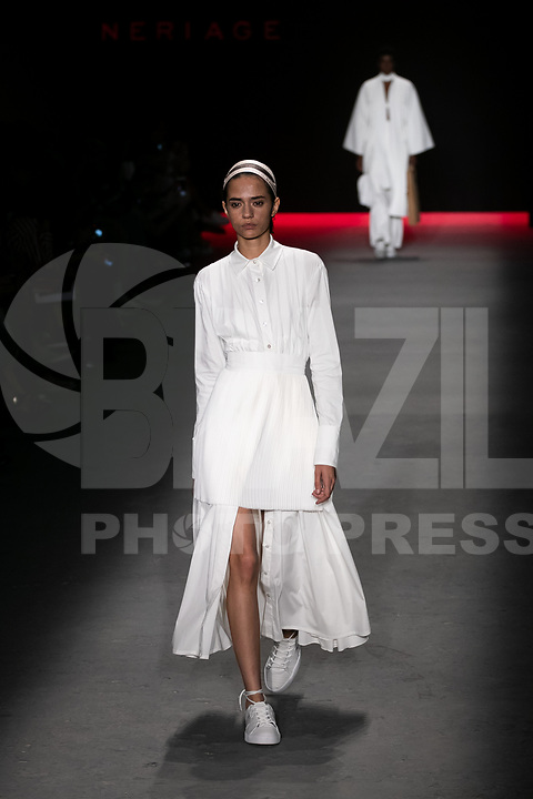 SAO PAULO, SP, 25.04.2019 - MODA-SP - Desfile da grifre Neriage durante a edição 47 da São Paulo Fashion Week, no Espaço Arca zona oeste de São Paulo, nesta quinta-feira, 25. <br /> <br /> (Foto: Fabricio Bomjardim / Brazil Photo Press / Folhapress)