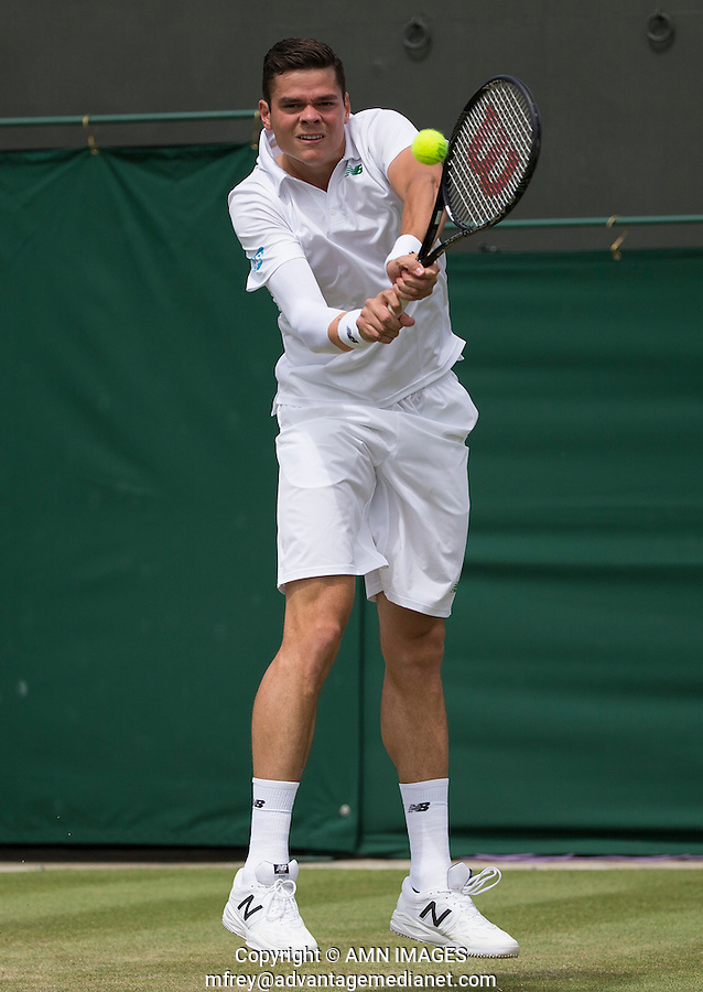 MILOS RAONIC (CAN)<br /> <br /> The Championships Wimbledon 2014 - The All England Lawn Tennis Club -  London - UK -  ATP - ITF - WTA-2014  - Grand Slam - Great Britain -  26th June 2014. <br /> <br /> &copy; AMN IMAGES
