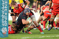 Matt Eliet of London Scottish attempts to get over the try line during the Greene King IPA Championship match between London Scottish Football Club and Hartpury RFC at Richmond Athletic Ground, Richmond, United Kingdom on 28 October 2017. Photo by David Horn.
