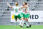 Stockholm 2015-04-11 Fotboll Damallsvenskan Hammarby IF DFF - Mallbackens IF Sunne  :  <br /> Hammarbys Elina Johansson jublar med lagkamrater efter sitt 1-0 m&aring;l under matchen mellan Hammarby IF DFF och Mallbackens IF Sunne  <br /> (Foto: Kenta J&ouml;nsson) Nyckelord:  Fotboll Damallsvenskan Dam Damer Tele2 Arena Hammarby HIF Bajen Mallbacken jubel gl&auml;dje lycka glad happy
