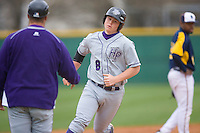 Robbie Gilles #8 of the High Point Panthers rounds the bases after hitting a solo home run in the top of the 9th inning against the North Carolina A&T Aggies at War Memorial Stadium March 16, 2010, in Greensboro, North Carolina.  Photo by Brian Westerholt / Four Seam Images