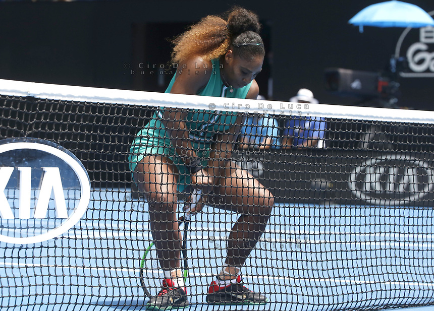 15th January 2019, Melbourne Park, Melbourne, Australia; Australian Open Tennis, day 2; Serena Williams of USA reacts during a match against Tatjana Maria of Germany