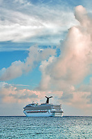 Cruise ship near sunset off St. Thomas. US Virgin Islands.