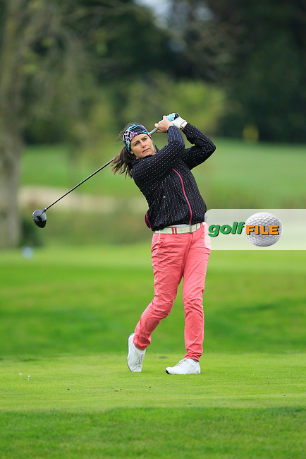 Hazel Kavanagh (Carr Golf Services) on the 15th tee  during Round 3 of The Cassidy Golf 103rd Irish PGA Championship in Roganstown Golf Club on Saturday 12th October 2013.<br /> Picture:  Thos Caffrey / www.golffile.ie