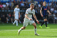 George Byers of Swansea City celebrates his side's third goal during the Sky Bet Championship match between Swansea City and Rotherham United at the Liberty Stadium in Swansea, Wales, UK.  Friday 19 April 2019