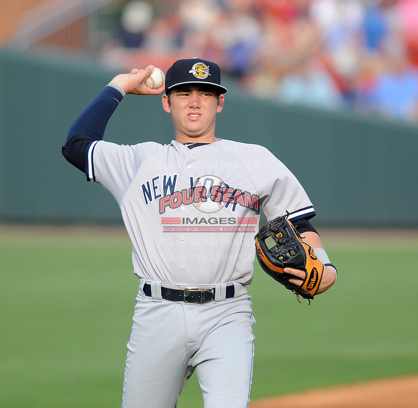 Infielder Dante Bichette, Jr. (19) of the Charleston RiverDogs, a New York Yankees affiliate, prior to a game against the Greenville Drive on June 21, 2012, at Fluor Field at the West End in Greenville, South Carolina. Charleston won, 2-1. Bichette is the Yankees' No. 6 prospect, according to Baseball America and was a first-round draft pick in 2011. (Tom Priddy/Four Seam Images)