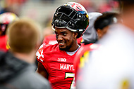 College Park, MD - OCT 27, 2018: Maryland Terrapins wide receiver Tino Ellis (7) on the sidelines during game between Maryland and Illinois at Capital One Field at Maryland Stadium in College Park, MD. The Terrapins defeated Illinois to move to 5-3 on the season. (Photo by Phil Peters/Media Images International)