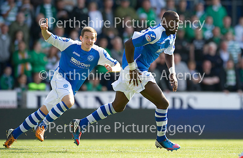 St Johnstone v Celtic....15.09.12      SPL  .Gregory Tade celebrates his goal.Picture by Graeme Hart..Copyright Perthshire Picture Agency.Tel: 01738 623350  Mobile: 07990 594431