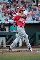 JJ Matijevic #24 of the Arizona Wildcats bats during a College World Series Finals game between the Coastal Carolina Chanticleers and Arizona Wildcats at TD Ameritrade Park on June 27, 2016 in Omaha, Nebraska. (Brace Hemmelgarn/Four Seam Images)