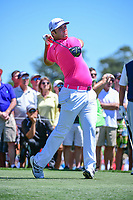Jon Rahm (ESP) watches his tee shot on 3 during round 2 of the Shell Houston Open, Golf Club of Houston, Houston, Texas, USA. 3/31/2017.<br /> Picture: Golffile | Ken Murray<br /> <br /> <br /> All photo usage must carry mandatory copyright credit (&copy; Golffile | Ken Murray)