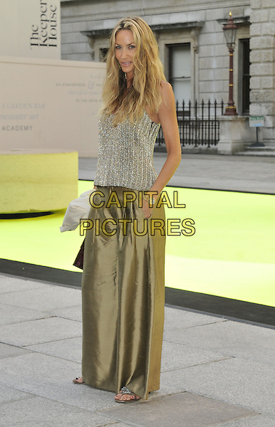 Lisa Butcher<br /> Attending the VIP preview party for the Royal Academy of Arts Summer Exhibition 2013 at the Royal Academy of Arts in London, England, UK, <br /> June 5th, 2013.<br /> arrivals full length gold top vest wide leg trousers silk satin hand in pocket <br /> CAP/DS<br /> &copy;Dudley Smith/Capital Pictures
