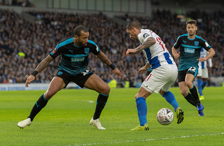 West Bromwich Albion's Tyrone Mears (left) vies for possession with Brighton & Hove Albion's Anthony Knockaert (right) <br /> <br /> Photographer David Horton/CameraSport<br /> <br /> Emirates FA Cup Fourth Round - Brighton and Hove Albion v West Bromwich Albion - Saturday 26th January 2019 - The Amex Stadium - Brighton<br />  <br /> World Copyright © 2019 CameraSport. All rights reserved. 43 Linden Ave. Countesthorpe. Leicester. England. LE8 5PG - Tel: +44 (0) 116 277 4147 - admin@camerasport.com - www.camerasport.com