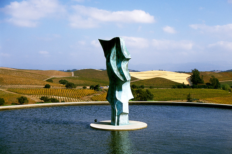 California: Sonoma-Napa Region.  Sculpture at Artesa Winery..Photo copyright Lee Foster, 510/549-2202, lee@fostertravel.com, www.fostertravel.com..Photo #: casono104