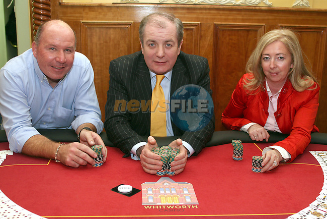 Tara and Bernard McCormick with Gavin Duffy at the Opening of the Whitworth Casino...Photo NEWSFILE/Jenny Matthews.(Photo credit should read Jenny Matthews/NEWSFILE)....This Picture has been sent you under the condtions enclosed by:.Newsfile Ltd..The Studio,.Millmount Abbey,.Drogheda,.Co Meath..Ireland..Tel: +353(0)41-9871240.Fax: +353(0)41-9871260.GSM: +353(0)86-2500958.email: pictures@newsfile.ie.www.newsfile.ie.FTP: 193.120.102.198.