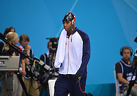 August 02, 2012..Cullen Jones arrives to compete in Men's 50m Freestyle Semifinal at the Aquatics Center on day six of 2012 Olympic Games in London, United Kingdom.