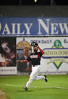 Batavia Muckdogs outfielder Yuniel Ramirez (43) tracks a fly ball during a game against the Williamsport Crosscutters on August 28, 2015 at Dwyer Stadium in Batavia, New York.  Batavia defeated Williamsport 6-0.  (Mike Janes/Four Seam Images)