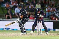 New Zealand's Ross Taylor is stumped by England's Jos Buttler. New Zealand Blackcaps v England. One Day International Cricket. Seddon Park, Hamilton, New Zealand on Sunday 25 February 2018.<br /> <br /> Copyright photo: &copy; Bruce Lim / www.photosport.nz