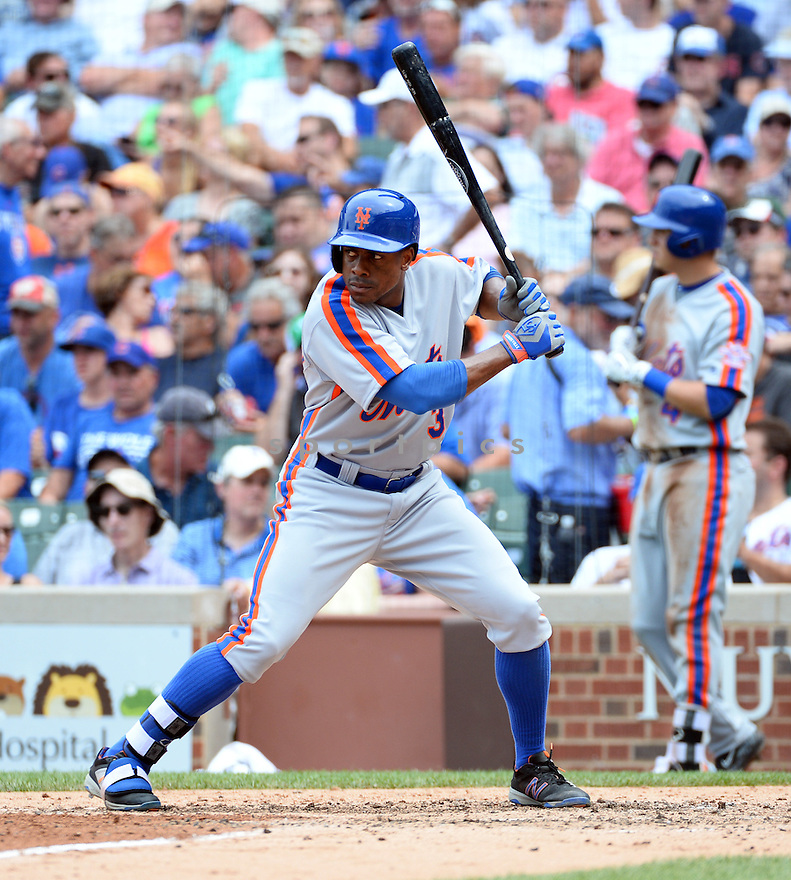 New York Mets Curtis Granderson (3) during a game against the Chicago Cubs on July 20, 2016 at Wrigley Field in Chicago, IL. The Cubs beat the Mets 6-2.
