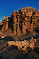 746000023 strange sandstone formations stand watch over the landscape in fantasy canyon a blm property in the middle of a working oil field in northeastern utah united states