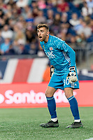 FOXBOROUGH, MA - SEPTEMBER 21: Matt Turner #30 of New England Revolution directs the defense during a game between Real Salt Lake and New England Revolution at Gillette Stadium on September 21, 2019 in Foxborough, Massachusetts.