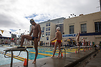 BERKELEY, CA - Feb. 18, 2017: Cal's Ken Takahashi gets ready to swim in the Men 500 Yard Freestyle.  Cal Men's Swimming and Diving competed against Stanford at Spieker Aquatics Complex.