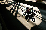 A handcycle wheelchair athlete crosses the Queensboro bridge from Queens into Manhattan during the ING New York City Marathon in New York, New York on November 4, 2007.  Alejando Albor (USA) won the race with a time of 1:17:48.