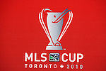 19 November 2010: MLS Cup 2010 logo. The Colorado Rapids held a press conference at BMO Field in Toronto, Ontario, Canada as part of their preparations for MLS Cup 2010, Major League Soccer's championship game.
