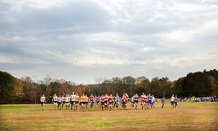 Watertown, CT- 22 October 2015-102215CM05-  Boys begin the varsity race during the Berkshire League XC championships at Black Rock State Park on Thursday.  Northwestern's Peter Bakker was the boys first place finisher.     Christopher Massa Republican-American