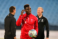 Lincoln City's Bernard Mensah during the pre-match warm-up<br /> <br /> Photographer Andrew Vaughan/CameraSport<br /> <br /> The EFL Checkatrade Trophy Northern Group H - Scunthorpe United v Lincoln City - Tuesday 9th October 2018 - Glanford Park - Scunthorpe<br />  <br /> World Copyright &copy; 2018 CameraSport. All rights reserved. 43 Linden Ave. Countesthorpe. Leicester. England. LE8 5PG - Tel: +44 (0) 116 277 4147 - admin@camerasport.com - www.camerasport.com